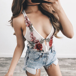 Wholesale Gauze Romper - Sexy Bodysuit 2017 European Summer Perspective Peony Embroidery Gauze Sleeveless Waist Elastic White Black Casual Romper