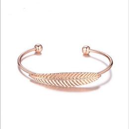 Wholesale Platinum Promotions - Feather Bracelet Bangle Bracelets Wholesale Women Fashion Jewelry Bracelets Rose Red Platinum Bangles Promotion Jewelry Hot Sale
