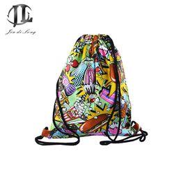 Wholesale Hop Shops - Wholesale- 2016 New Fashion Women Girls harajuku Street Style Drawstring Bag Backpack 3D Print Travel Shopping Bags