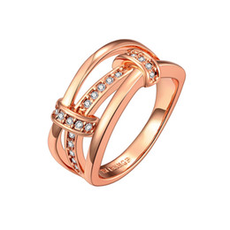 Wholesale Unique White Gold Engagement Rings - Unique Ring Rose Gold Plated Cubic Zircon Handmade Christmas Gifts Free Shipping Size 8 GPR691-B