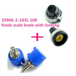 Wholesale Potentiometer Knobs Wholesale - Wholesale- 3590s precision multi- turn potentiometer 10K + knob scale knob with locking