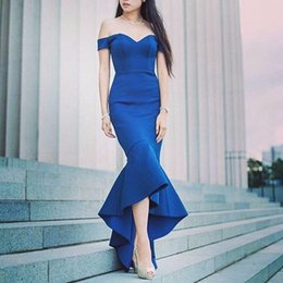 Wholesale Keyhole Strapless Prom Dresses - Off the Shoulder Blue Satin Mermaid Evening Dresses Gown Formal Party Dress Vestido de Fiesta Women Pageant Dress Blue Prom