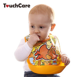 Wholesale Wholesale Infant Pocket Bibs - Wholesale- Cute Cartoon Animal Duck Printed Baby Bibs Infant Removable Pocket Safety EVA Bib Burp Toddler Clothes Accessories
