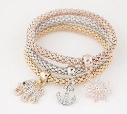 Wholesale Rose Wheels - Trendy Stretch Corn Chain Bracelet Steering Wheel Anchor Elephant Three In One Gold  Silver  Rose Gold Corn Chain Bracelet Sets