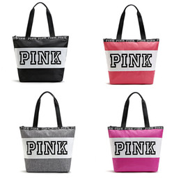 Wholesale Shoulder Totes Wholesale - Fashion Pink Letter Handbag Large Capacity Shoulder Bag Waterproof Beach Bags For Travel Storage Handbags High Quality C2381
