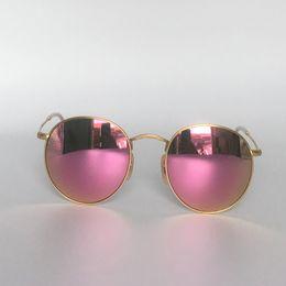 Wholesale Metal Box Leather - Round Metal Sunglasses Retro Style Sunglasses for Men Women Soscar 3447 Brand Designer Sunglasses Flash Mirror Lenses 50mm with Leather Box