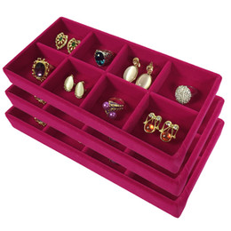 Wholesale Earrings Tray Display - 3Pcs High Quality Velvet Jewelry Display Tray Ring Earring Storage Box Removable 8 Grid Earring Organizer Display Tray Rose Red 11*22*3cm