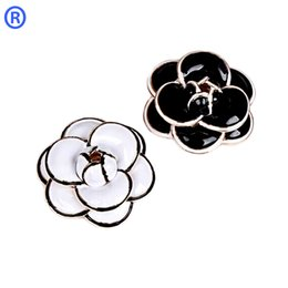 Wholesale Fashion Flower Pins - New Brand Enamel Camellia Brooch 18K Gold Plated Luxury Fashion Flowers Brooch for Women Wedding Bride Bouquet Brooches Pins Jewelry Hot