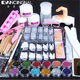 Wholesale Nails French Brush - Wholesale- New Professional Acrylic Powder Glitter False French Tips Polymer Builder Nail Brush File Deco Scissors DIY Nails Art Kit Set