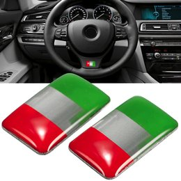 Wholesale Self Adhesive Carbon Fiber - Wholesale- Pair Universal Italy Flag Sticker Labeling Decor Self-adhesive For Automobile Car 18x11mm