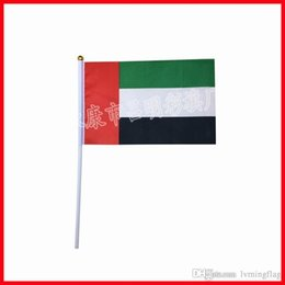 Wholesale Wholesale Uae - The polyester flag with 40cm pole,20*30 cm silk printing UAE flag,hand waving flag factory directly
