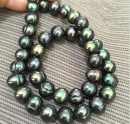 "Wholesale black pearl leather necklace - 18"" AAA 9-10mm baroque South sea Black green Pearl Necklace"