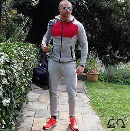 Wholesale Aesthetics Bodybuilding - Hot Men Contrast Color Gymshark GYM AESTHETICS Doctor Muscle Bodybuilding Fitness Running Sport Slim Hoodies Sweatshirts Tracksuits