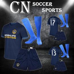 Wholesale Galaxy Suit - Men kit + socks 17 18 LA Galaxy away deep blue uniform thai quality short sleeve football jerseys men's athletic outdoor sports kits suits