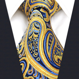 Wholesale Silk Jacquard Woven Orange Tie - U13 Paisley Orange Blue Navy Mens Necktie Ties 100% Silk Jacquard Woven