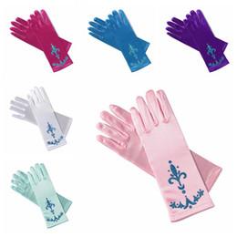 Wholesale Girl Princess Dress Up - dress up gloves kids accessories princess gloves printing Cosplay Girls Long Gloves
