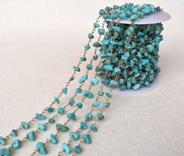 Wholesale Turquoise Stone Chip Beads - Natural turquoise tophus Stone Crystal Chips Jewelry Finding Necklace Chains,Gold Color DIY necklace bangle jewelry making LZ28