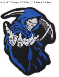 """Wholesale Leather Vest Blue - 11.5"""" XXL Large Blue Hooded Grim Reaper Patch Bike Motorcycle Biker Vest Embroidered Sew On Iron On Badge Leather Jacket Back"""