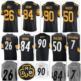 Wholesale Baseball Game - Pittsburgh Men Steeler #90 T.J. Watt 84 Antonio Brown 50 Ryan Shazier 7 Ben Roethlisberger 26 Le'Veon Bell Game Color Rush Jerseys