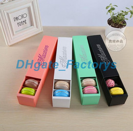 Wholesale Biscuit Boxes - LOW PRICE!!! 200pcs lot home made macaron black white pink green macaron box biscuit Muffin box Free Shipping DHFTY-019