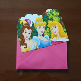 Wholesale Princess Party Invitations - Wholesale-6pcs Cards and 6pcs Envelopes Princess theme Invitation Cards for Kids Birthday Party Festival Supplies Invitation Card