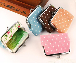 Wholesale Handbags Clasp Clips - 12*9cm vintage mini flower coin purse hot fashion canvas dot small Money clips Wallet Clutch Handbag hasp clasp Key Holder Small Gifts
