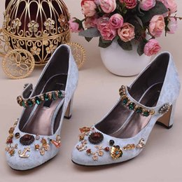 Wholesale Mary Jane Pointed Toe Pumps - Vintage Diamond Studded Women Chunky Heels Pumps Metal Flower Women Mary Jane Shoes Gladiator Sandals Ladies Wedding Shoes Lolita Shoes