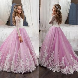 Wholesale Elegant Children Dresses - Elegant Long Sleeves Flower Girls Dresses For Weddings 2017 Jewel Lace Appliques Pageant Dress for Girls Child Formal Wear Gowns