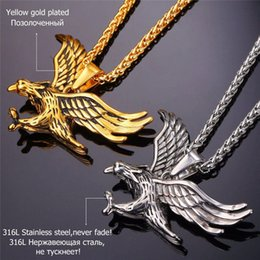 Wholesale Men Gold Eagle Necklace - Eagle Necklace Statement Jewelry Sale Gold Color Stainless Steel Hawk Animal Charm Pendant & Chain For Men P748