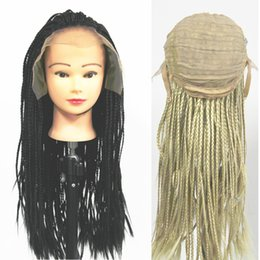 Wholesale Lace Front Kanekalon Wig Blonde - Synthetic Black Blonde 613# Box Braiding Full Lace Front Hair Wigs Curly Full Hand Kanekalon Jumbo Braids Hair Wigs For Fashion Women