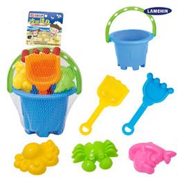 Wholesale Plastic Bucket Beach Toys - 6PCS Suammer Seaside Tiny Beach Sand Toys Tools Spade Rake Bucket Set Sand Snow Building Molds for Toddler Kids Children