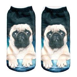 Wholesale Wholesale Galaxy Socks - Wholesale- New 3D Printed Galaxy Pug Women Socks Cute Low Cut Ankle Sock Multiple Colors Fashion Style CW19