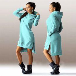 Wholesale Woman Green Fleece Lined - Hoody Dress Letter Print with Hooded Front Pocket Sweatshirt Autumn Hoodie Long Sleeve Slim College Style Women bodycon