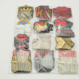 Wholesale Crown Appliques - 120pcs set Mixed Mouth crown  Lipstick rainbow Embroidered Sew On   Iron On Patches Set Badge Bag Fabric Applique Craft