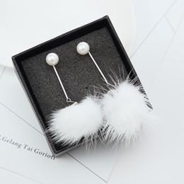 Wholesale Korean Winter Wear Women - High Quality Korean Fur Ball Dangle Earrings Women Pearl Earrings All-match Accessories Party Fashion Jewelry Autumn Winter Wear Brincos