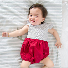Wholesale Newborn Clothes China - China wholesaler 2017 spring summer fashion cute dot cotton jumpsuits rompers baby newborn girl climbing clothes red 75-100cm high quality