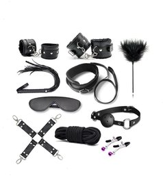 Wholesale Sexy Toys Handcuffs - 10PCS New Leather bdsm bondage Set Restraints Adult Games Sex Toys for Couples Woman Slave Game SM Sexy Erotic Toy Handcuff