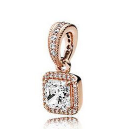 Wholesale Fit Cube - Rose Gold plated Timeless Elegance Dangle Charm Bead with Clear Cz Fits European Pandora Jewelry Bracelets & Necklaces Necklaces & Pendants