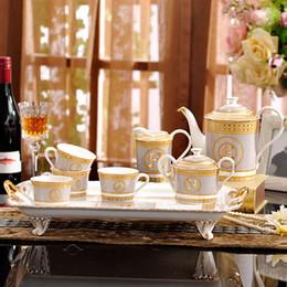 "Wholesale Coffee Mosaic - Porcelain coffee set bone china ""H"" mark mosaic design outline in gold 8pcs European tea set coffee pot coffee jug tea tray"