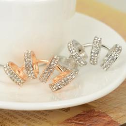 Wholesale Clip Earrings White - 10 Pcs Punk Rhinestone Gold Sliver Plated Ear Cuff Clip On Earrings Ear Wrap For Women Charm Earrings Jewelry