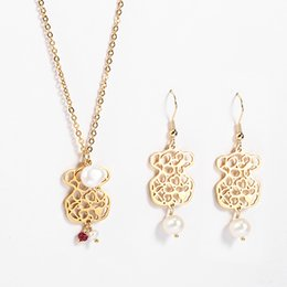 Wholesale Gold Set Jewelry Pearls - TL Gold Silver Bear Jewelry Set Wholesale High Quality Stainless Steel Jewelry Set Pearl Beads Brand Jewelry Set