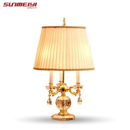 Wholesale Light Blue Bedside Lamp - 2017 Seconds Kill Time-limited Freeshipping Glass Crystal Table Desk Lamp Chandelier Lighting Quality Bedroom Bedside Lamps Z130