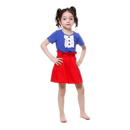 Wholesale Toddler High Waist Shorts - Patriotic Baby Girls Clothes Short Sleeve Girls Tees High Waist Skirt Clothing Set Toddler Outfit Summer Girls Clothes