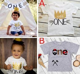 "Wholesale Baby Christmas Top - INS Xmas ""Wild one"" letter print infant tshirt New Kids Baby Girls Summer Fashion 100% Cotton Short sleeve Letter Print T-shirt Tops Clothes"