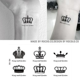 Wholesale Eye Makeup For Men - Wholesale-Super Creative Waist Leg Makeup Queen King Crown diamond Tattoo Waterproof Temporary Tattoo Stickers For Men Woman