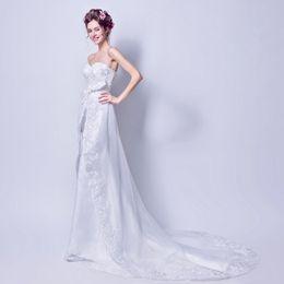 Wholesale Cross Front Sweetheart Wedding Dress - White Tulle Appliques Crystal vestido de noiva Sweetheart Chapel Train Wedding Dress Backless Tirered Mermaid Wedding Gown