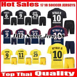 Wholesale Uniform T Shirts - 2017 2018 Mbappe NEYMAR JR soccer jersey kits 17 18 VERRATTI CAVANI LUCAS DI MARIA T SIVA DRAXLER DANI ALVES football jerseys shirt uniforms
