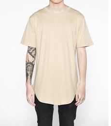 Wholesale Mens Plain Black T Shirt - 2017 NEW 5color S-XXL streetwear mens t shirts fashion hiphop clothing men clothes plain t shirt kanye west curved hem tee S-XXL