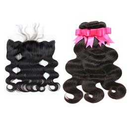 Wholesale Human Hair Weave Bleachable - Brazilian Hair Bundles With Lace Frontal Closure 13*4 Natural Black 1B Body Wave Human Hair Weave Closure Dyeable Bleachable