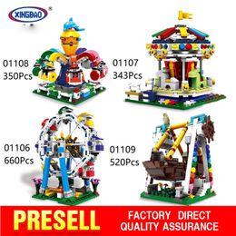 Wholesale Gi Plastics - XingBao 01106 01107 01108 01109 The ferris wheel The Genuine Amusement park equipment Series Building Blocks Bricks Toys Model christmas gi